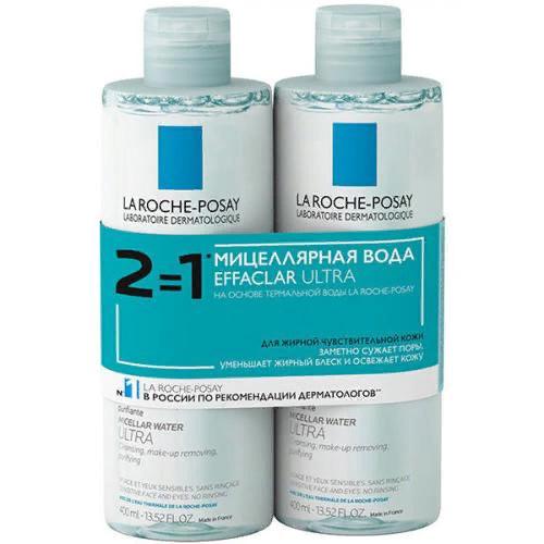Дуопак: вода мицеллярная Effaclar Ultra для жирной и проблемной кожи, 2 х 400 мл