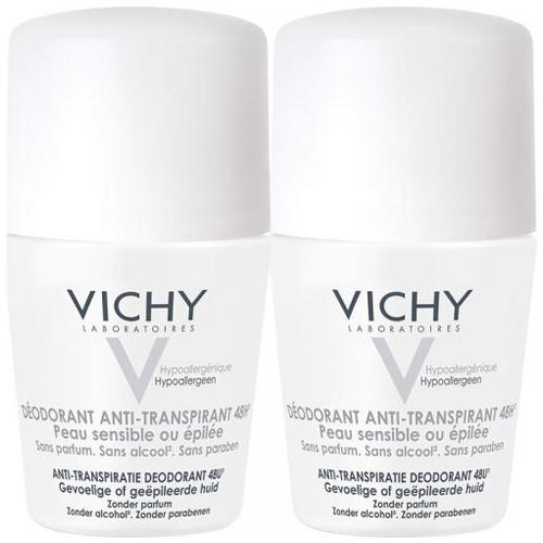 Дуопак: дезодорант шариковый Vichy для очень чувствительной кожи, женский, 2 х 50 мл