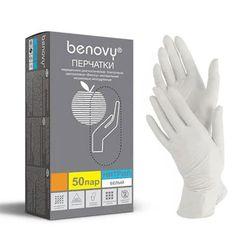 """Перчатки нитриловые """"Benovy"""" XS (белые) уп. 50 пар"""